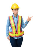 Female worker with Protection Equipment pointing on copy space, Royalty Free Stock Photos