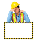Female worker with Protection Equipment, posing behind big white Stock Image