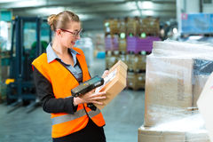 Female worker scans package in warehouse of forwarding. Logistics - female worker or shipper with protective vest and scanner, scans bar-code of package, he stock photo