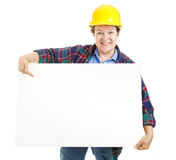 Female Worker with Sign Royalty Free Stock Image