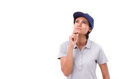 Female worker thinking, planning Royalty Free Stock Photography