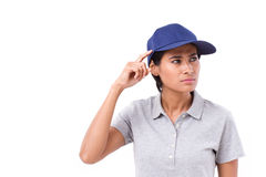 Female worker thinking, planning, making a decision. White isolated background Stock Photo