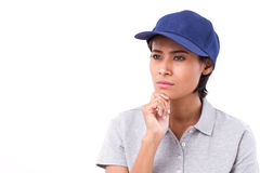 Female worker thinking, planning, making a decision. White isolated background Royalty Free Stock Photography