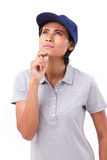 Female worker thinking, planning, making a decision. White isolated background Royalty Free Stock Photo