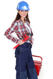 Female worker with a toolbox Royalty Free Stock Image