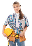 Female worker with tools and blueprint isolated Stock Photo
