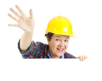 Female Worker Waving Royalty Free Stock Images
