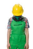 Female worker wearing coverall and gas mask Royalty Free Stock Photography