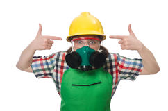 Female worker wearing coverall and gas mask Stock Photo