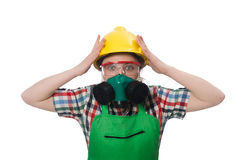 Female worker wearing coverall and gas mask Stock Images