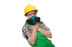 Female worker wearing coverall and gas mask Royalty Free Stock Photo