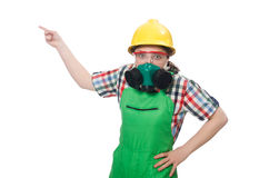 The female worker wearing coverall and gas mask Stock Photography