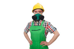 The female worker wearing coverall and gas mask Royalty Free Stock Photos