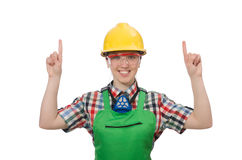 Female worker wearing coverall isolated on white Stock Photos