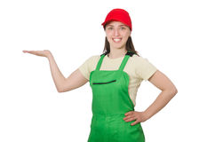 Female worker wearing coverall isolated on white Royalty Free Stock Images