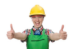 Female worker wearing coverall isolated on white Stock Photo