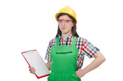 Female worker wearing coverall isolated on white Royalty Free Stock Photography