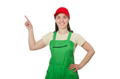 Female worker wearing coverall isolated on white Royalty Free Stock Photo