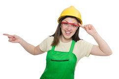 Female worker wearing coverall isolated on white Stock Images