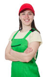 Female worker wearing coverall isolated on white Royalty Free Stock Image