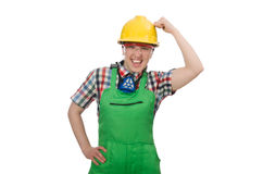 Female worker wearing coverall isolated on white Royalty Free Stock Photos