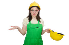Female worker wearing coverall isolated on white Stock Image