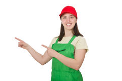 The female worker wearing coverall isolated on Stock Images