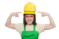 The female worker wearing coverall isolated on Royalty Free Stock Image