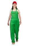 The female worker wearing coverall isolated on Royalty Free Stock Images