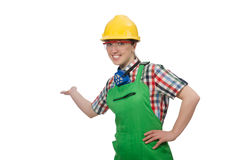 The female worker wearing coverall Stock Photography