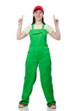 The female worker wearing coverall isolated on Stock Photo