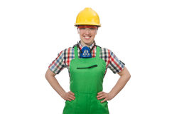 The female worker wearing coverall isolated on Stock Photography