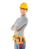 Female worker wearing working clothes with tools isolated on whi Royalty Free Stock Photos
