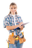 Female worker writing in blue clipboard isolated Royalty Free Stock Photography