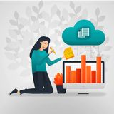 Female workers change the sales chart data from cloud storage. flat cartoon vector illustration vector illustration