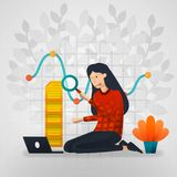 Female workers are curious about line chart reports. flat cartoon vector illustration stock illustration