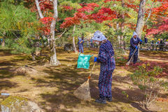 Female Workers at Kinkak-ji Temple in Kyoto Stock Photos