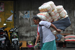 Female workers in traditional markets in Indonesia Stock Photos