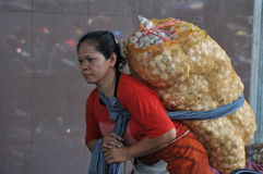 Female workers in traditional markets in Indonesia Stock Photo