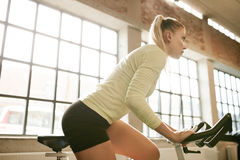 Female working out on a treadmill at gym Stock Photography