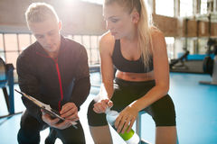 Female working out on a treadmill at gym Royalty Free Stock Photography