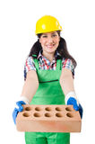 Female workman in green overalls holding brick. The female workman in green overalls holding brick isolated on white Royalty Free Stock Photo