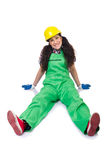 Female workman in green overalls isolated on white Royalty Free Stock Image