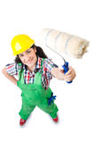 Female workman in green overalls isolated on white Stock Photo