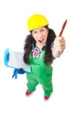 Female workman in green overalls isolated on white Royalty Free Stock Photography