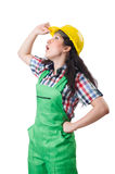 Female workman in green overalls isolated on white Royalty Free Stock Photos