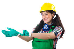 Female workman in green overalls isolated on white Stock Image