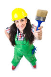 Female workman in green overalls isolated on white Royalty Free Stock Photo