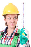 Female workman in green overalls isolated on white Stock Photos