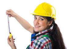 Female workman in green overalls isolated on white Stock Images